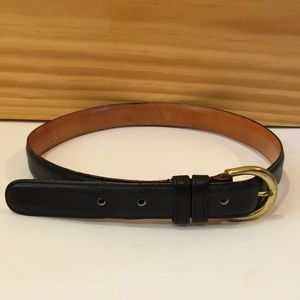 COACH Navy Blue Leather Belt with Brass Buckle